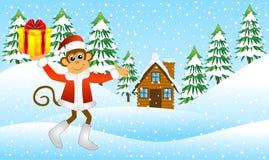 Monkey com um presente na floresta do inverno ilustração royalty free
