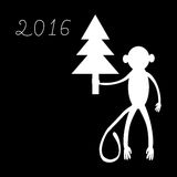 Monkey com uma árvore de Natal um símbolo de 2016 Imagens de Stock