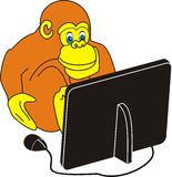 Monkey and the computer. The vector image of a monkey behind work on the computer  - an animated cartoon, a joke Stock Photo