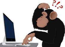 Monkey and computer. Clever monkey at a computer royalty free illustration