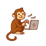 Monkey and computer Royalty Free Stock Images