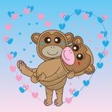 Monkey couple love Stock Image