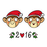 Monkey couple in Santa's hats, chinese new year 2016 symbol, cut. E vector animal characters  on white Royalty Free Stock Photography