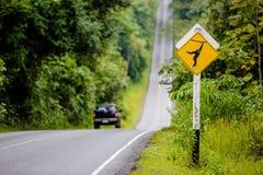 Monkey crossing sign Stock Photos