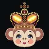 Monkey in the crown, monkey queen. Pattern head monkey. Chinese zodiac: 2016 year monkey. Winter Christmas design. Can be used for postcards, books, wallpaper Royalty Free Stock Images