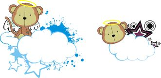 Monkey cute baby plush angel cartoon cloud Royalty Free Stock Photography