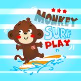 Monkey cute playing surf. In lined background Royalty Free Stock Image