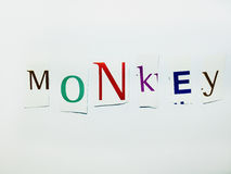 Monkey - Cutout Words Collage Of Mixed Magazine Letters with White Background. Caption composed with letters torn from magazines with White Background Royalty Free Stock Image