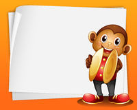 A monkey with cymbals and the blank space. Illustration of a monkey with cymbals and the blank space Stock Images
