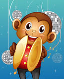 A monkey with cymbals in a disco house Stock Photo