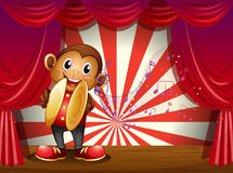 A monkey with cymbals and musical notes at the stage Stock Images