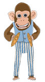 Monkey with cymbals toys line art Royalty Free Stock Images