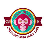Monkey D circus best show world tour 2017 emblem. Monkey D circus best show world tour 2017 promotional emblem. Performance with participation of trained apes Stock Photo