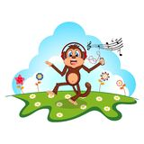 Monkey dance while listening to music with a headset cartoon in a garden for your design Royalty Free Stock Images