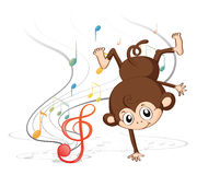 A monkey dancing with musical notes Royalty Free Stock Photography