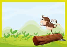 A monkey dancing on wood Stock Images