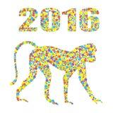 Monkey 2016 de puntos coloreados en el fondo blanco Puede ser utilizado para el diseño de una camiseta, bolso, postal, un cartel  Fotos de archivo