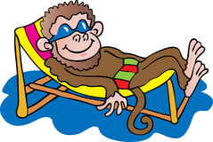 Monkey in a deckchair Royalty Free Stock Photography