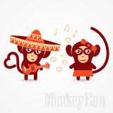 Monkey declaration of love songs using guitar Royalty Free Stock Photo