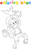 Monkey decorates a Christmas tree with a ball. Coloring book for. Kids about New Year. Vector illustration Royalty Free Stock Images