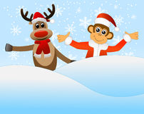 Monkey and deer peeking out of a snowdrift Stock Images