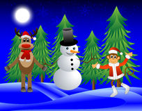 Monkey, deer and a snowman on the edge of the forest Stock Images
