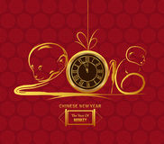 Monkey design for Chinese New Year. Gold clock.  Vector Illustration