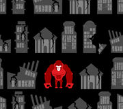 Monkey destroyer in town. Angry Gorilla broke homes and building Stock Photography