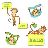 Monkey in different poses with banners Royalty Free Stock Photos