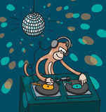 Monkey disc jockey playing music Stock Image