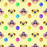 Monkey and dog. seamless pattern Royalty Free Stock Images