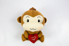 A Monkey dolls. This is a brown monkey dolls that keep heart in white background Royalty Free Stock Images