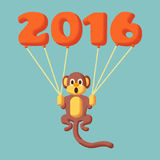 Monkey dotted symbol of 2016 with balloons. And flat colors Stock Image