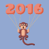 Monkey dotted symbol of 2016 with balloons. Rose Quartz and Serenity colors Stock Photo
