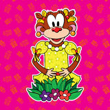 Monkey in dress on bright background. vector. Stock Photos