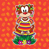 Monkey in dress on bright background. vector. Royalty Free Stock Photo