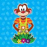 Monkey in dress on bright background. vector. Stock Image