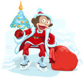 Monkey dressed as Santa is holding Christmas tree and bag gift Royalty Free Stock Photos