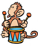 Monkey on a Drum. A cartoon monkey banging on a drum Stock Images