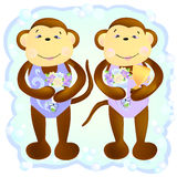 Monkey duet synchronous swimmers. The main symbol of this  illustration is a couple of monkeys- duet synchronous swimmers. Monkeys keep  bouquets of flowers and Royalty Free Stock Images