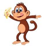 Monkey eat banana cartoon. Colourfull Stock Photos