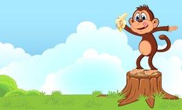 Monkey eat banana cartoon in a garden for your design Stock Photos