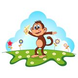 Monkey eat banana cartoon in a garden for your design Stock Photo