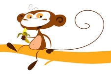 Monkey eating a banana. A funny monkey is eating a banana sitting on a tree branch. Vector illustration Stock Photography