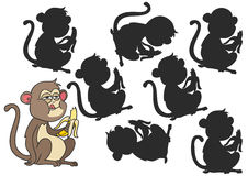 Monkey eating a banana. Monkey Cartoon. Find the right shadow image. Educational games for kids.Vector stock illustrationr Royalty Free Stock Photos
