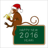 Monkey eating banana with a greeting tablet. Vector illustration Stock Image