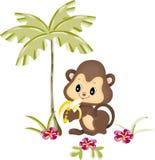 Monkey eating banana under palm Stock Photo