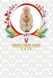 Monkey el mazo del control, tarjeta japonesa del Año Nuevo Imagenes de archivo