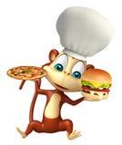 Monkey el personaje de dibujos animados con la pizza y la hamburguesa, sombrero del cocinero Fotos de archivo libres de regalías