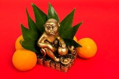 Monkey el símbolo del Año Nuevo chino 2016, y los mandarines Fotografía de archivo libre de regalías